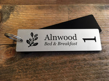 Load image into Gallery viewer, Single Sided, Personalised Key Fobs - SILVER Rectangle - Ideal for Hotels, Bed and Breakfast, Guest Houses