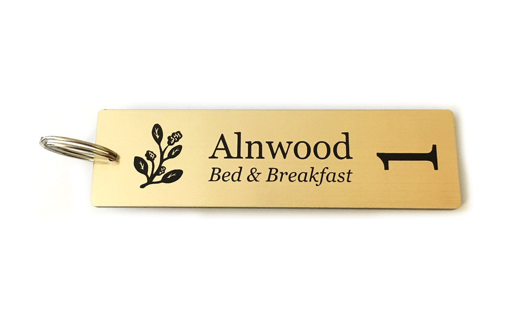 Personalised Key Fobs - GOLD Rectangle - Ideal for Hotels, Bed and Breakfast, Guest Houses