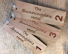 Load image into Gallery viewer, Personalised Key Fobs - Wood Veneer RECTANGULAR - Ideal for Hotels, Bed and Breakfast, Guest Houses