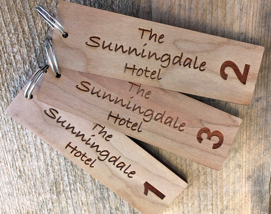 Personalised Key Fobs - Wood Veneer RECTANGULAR - Ideal for Hotels, Bed and Breakfast, Guest Houses