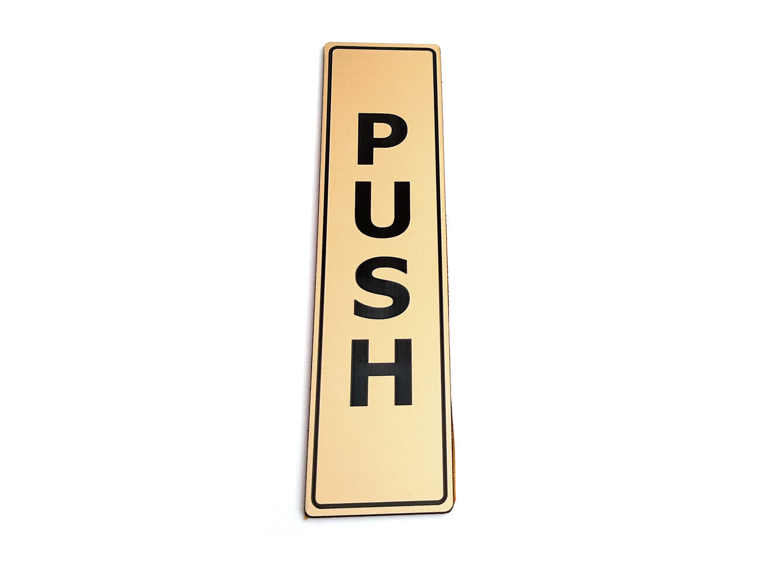 PUSH - Adhesive, Gold, Door Sign, - for business, restaurants, bars, hotels, schools, cafe