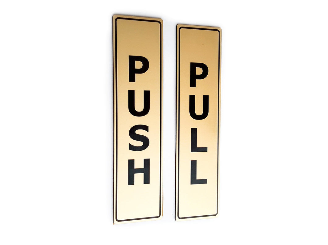 PUSH & PULL - Adhesive, Gold, Door Signs, for business, restaurants, bars, hotels, schools, cafe