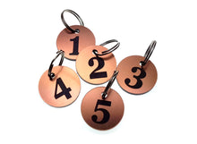 Load image into Gallery viewer, Circular Key Fobs Numbered 1-5 (copper)