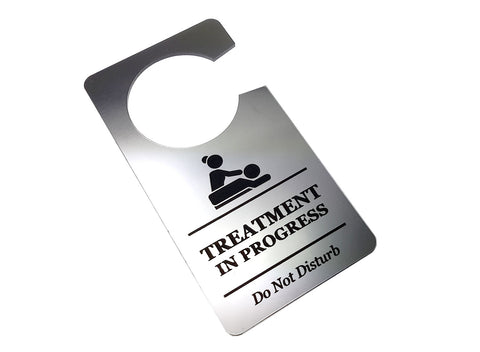 Treatment In Progress, Do Not Disturb - Generic Silver, Room Door Sign - for Salons, Spas, Massage, Treatment Rooms