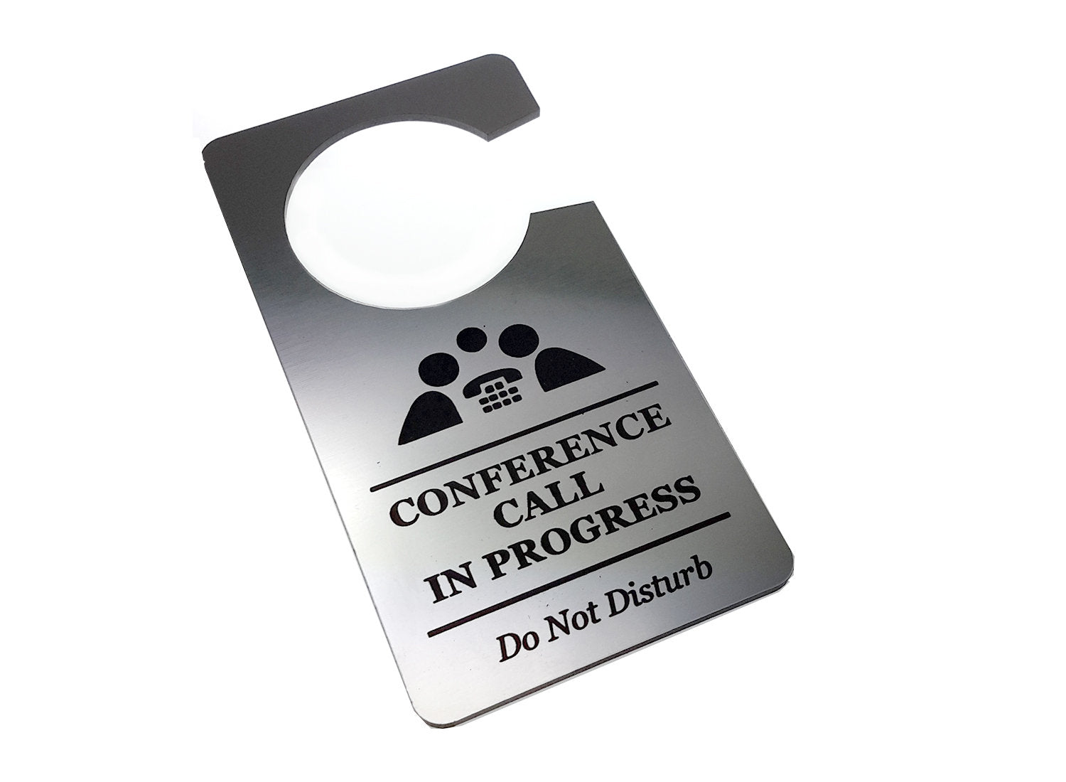 Conference Call In Progress, Do Not Disturb - Generic Silver, Room Door Sign - for Business, Corporate, Home Office, Hotel