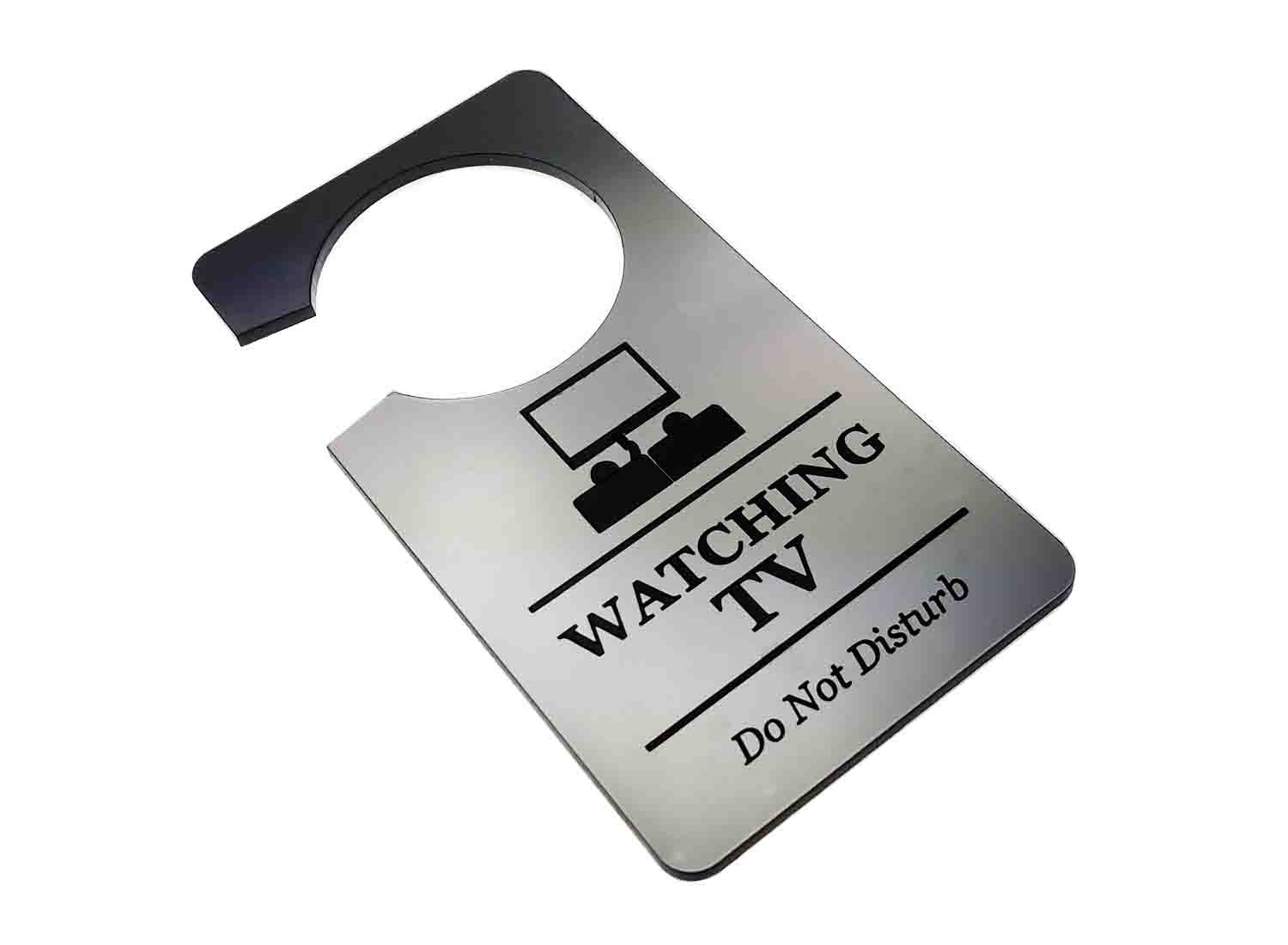 Watching TV Television, Do Not Disturb - Generic Silver, Room Door Sign, Ideal for use in the home or as a novelty gift