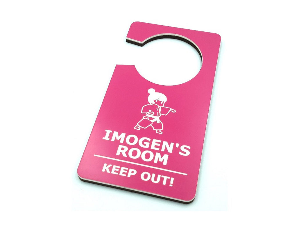 Personalised Children's Child's Bedroom Door Room Hanger - Do Not Disturb, Keep Out, Sign PINK