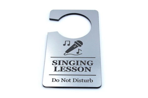 Singing Lesson, Do Not Disturb Sign - Generic Silver, Door Hanger, Ideal for Schools, Classrooms, Music Teachers, Singing Tutors