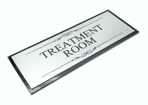 Treatment Room Black and Silver Door Sign - Size 19.5cm x 7cm, Supplied with Adhesive Strips