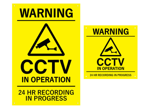 CCTV In Operation, Warning, Sign, Notice, Yellow and Black - Indoor and Outdoor use, waterproof, with drill holes (Large & Medium Sizes)