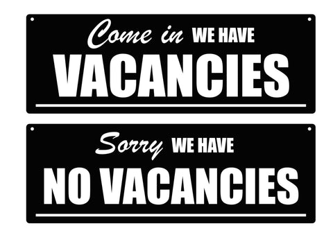 Vacancies / No Vacancies, Hanging Reversible Sign - Stylish, Bold, Engraved, Black and White Sign Ideal for Hotels, B&B's, Guest Houses