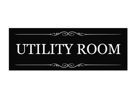 Utility Room Black and White Door Sign - Size 19.5cm x 7cm, Supplied with Adhesive Strips