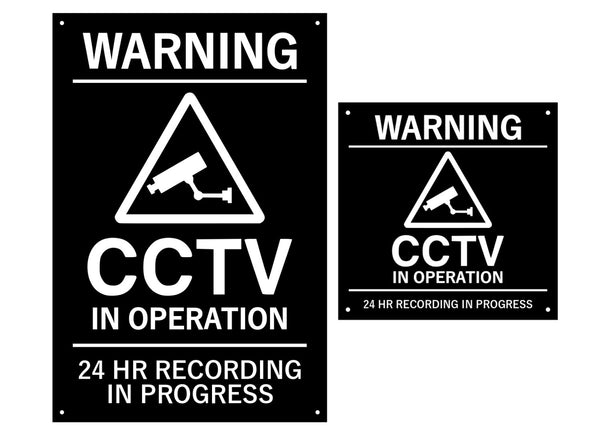 CCTV In Operation, Warning, Sign, Notice, Black and White - Indoor and Outdoor use, waterproof, with drill holes (Large & Medium Sizes)