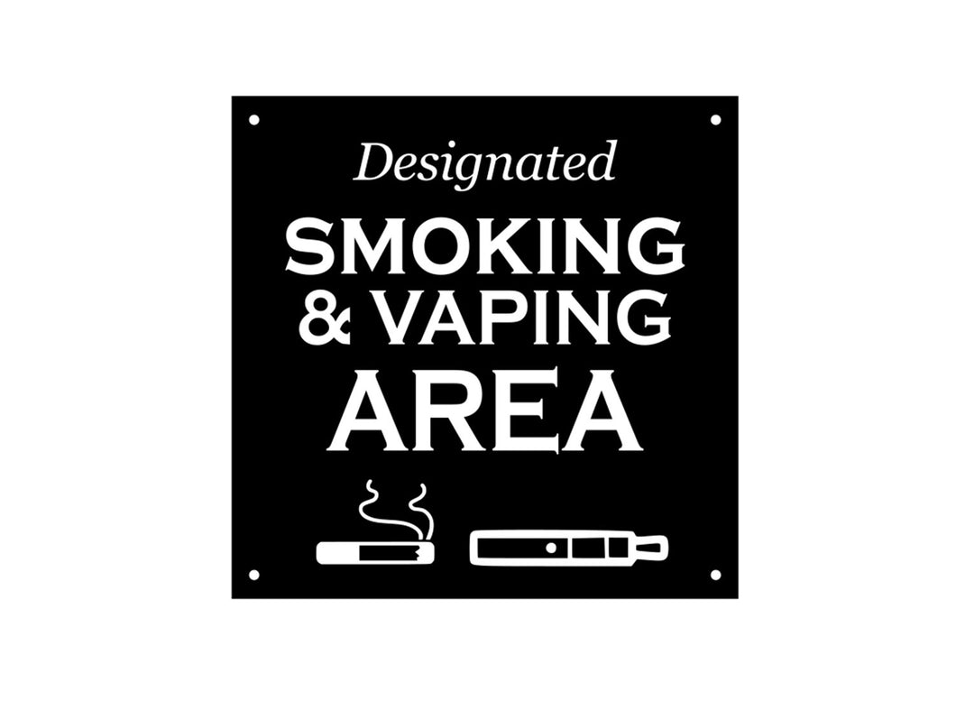 Designated Smoking and Vaping Area Sign (black and white)
