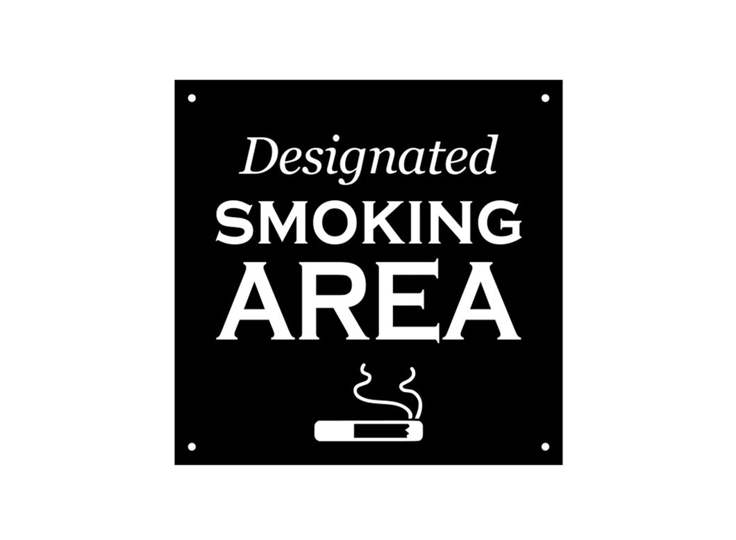 Designated Smoking Area Sign (black and white)