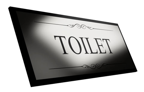 Toilet Black and Silver Door Sign - Size 19.5cm x 7cm, Supplied with Adhesive Strips, Corporate Office Business Retail Toilet Restroom