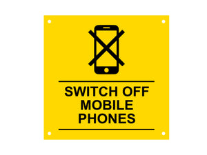 Switch Off Mobile Phones Sign, Notice, Warning - Ideal for business, offices, schools, hospitals. Waterproof Acrylic with drill holes