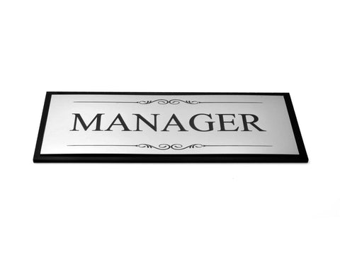 Manager Door / Room Sign, Adhesive Plaque, Stylish Metallic Silver and Black - Acrylic (Size 19.5cm x 7.6cm) supplied with adhesive strips