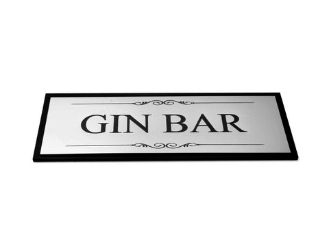 Gin Bar Door Room Sign, Adhesive Plaque, Stylish Metallic Silver and Black - Acrylic (Size 19.5cm x 7.6cm) supplied with adhesive strips