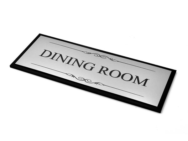 Dining Room Door Sign, Adhesive Plaque Stylish Metallic Silver and Black - Acrylic (Size 19.5cm x 7.6cm) supplied with adhesive strips