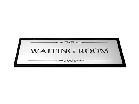 Waiting Room Door Sign, Adhesive Plaque Stylish Metallic Silver and Black - Acrylic (Size 19.5cm x 7.6cm) supplied with adhesive strips