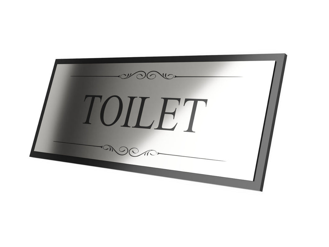 Toilet Door Sign, Adhesive Plaque, Stylish Metallic Silver and Black - Acrylic (Size 19.5cm x 7.6cm) supplied with adhesive strips