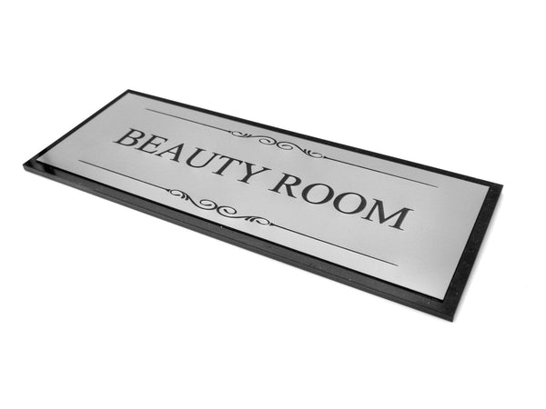 Beauty Room Door Sign, Adhesive Plaque, Stylish Metallic Silver and Black - Acrylic (Size 19.5cm x 7.6cm) supplied with adhesive strips