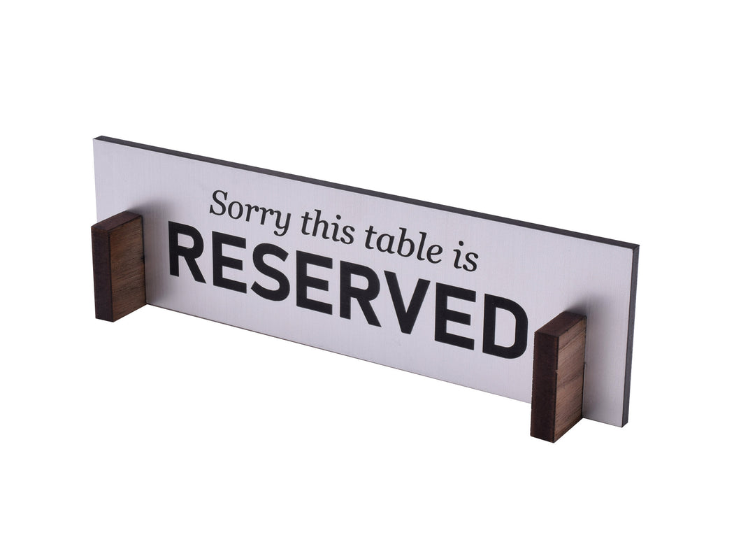 Reserved Table Top Signs - Silver and Black with wooden stands, Freestanding, Double Sided, Flat Packed, For Restaurants, Bars and Cafes