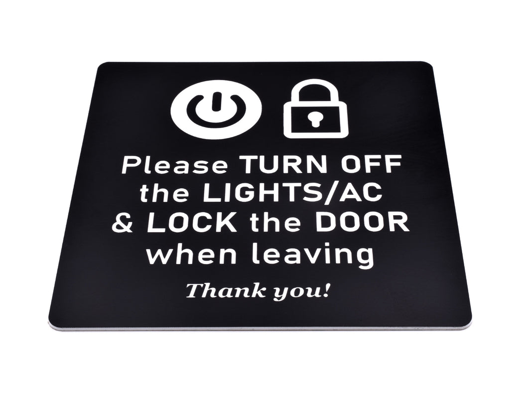 Please Turn Off Lights and Air Con and Lock Door - Black and White Adhesive Sign