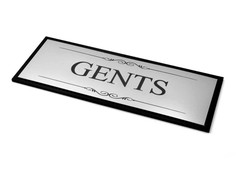 Gents Toilet Door Sign, Adhesive Plaque, Stylish Metallic Silver and Black - Acrylic (Size 19.5cm x 7.6cm) Supplied with adhesive strips