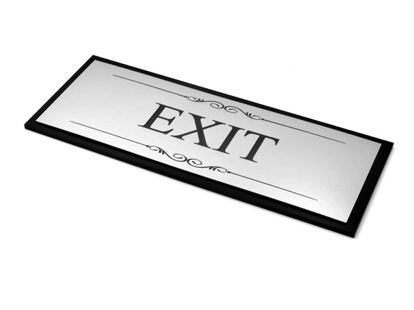 Exit Door Sign, Adhesive Plaque, Stylish Metallic Silver and Black - Acrylic (Size 19.5cm x 7.6cm) supplied with adhesive strips