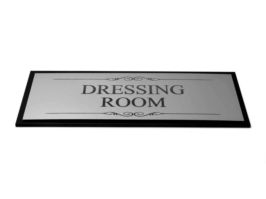 Dressing Room Door Sign, Adhesive Plaque, Stylish Metallic Silver and Black - Acrylic (Size 19.5cm x 7.6cm) supplied with adhesive strips