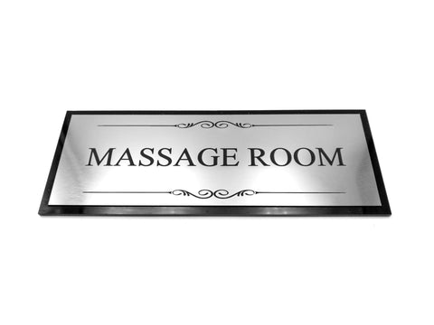 Massage Room Black and Silver Door Sign - Size 19.5cm x 7cm, Supplied with Adhesive Strips