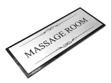 Load image into Gallery viewer, Massage Room Black and Silver Door Sign - Size 19.5cm x 7cm, Supplied with Adhesive Strips