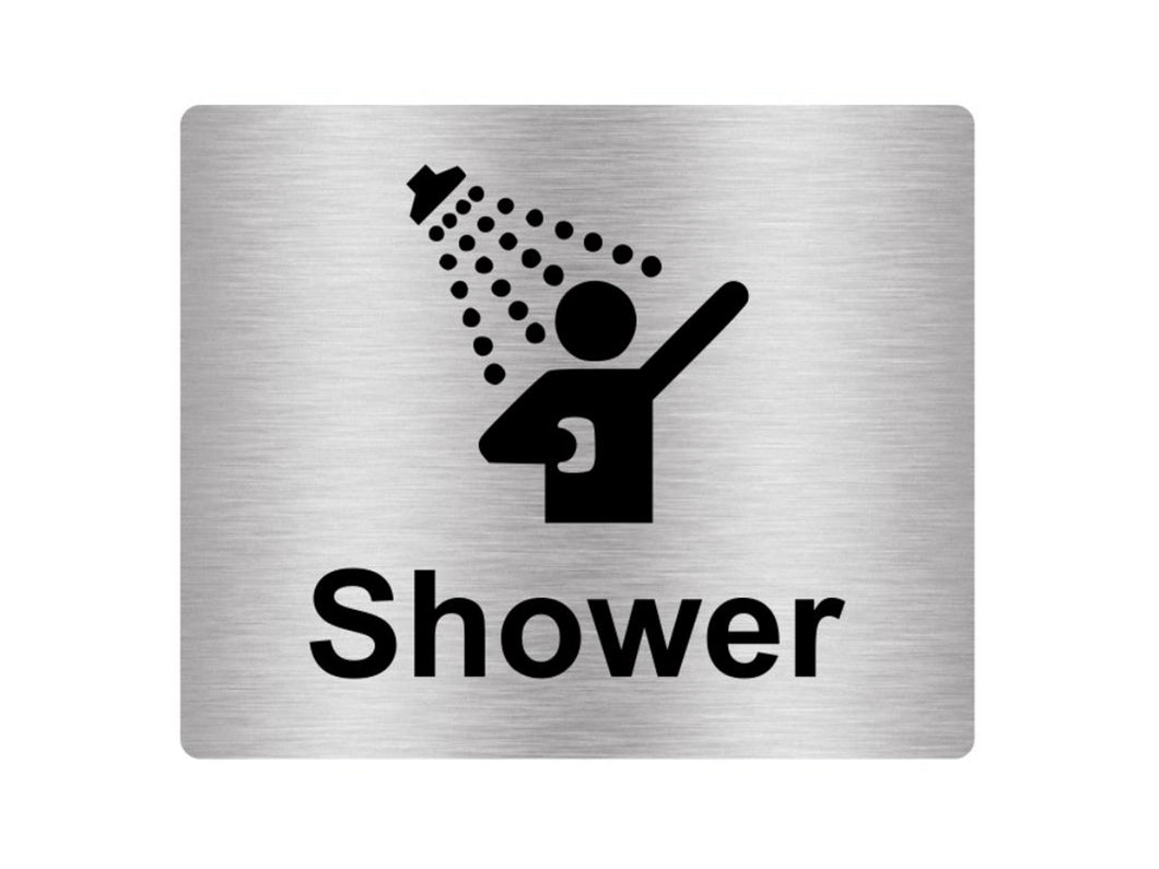 Shower Sign Adhesive Sticker Notice, SILVER / GOLD / BLUE engraved with text and Universal Icon Symbol (Size 12cm x 10cm)