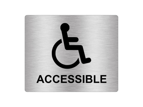 Wheelchair Accessible, Disability, Disabled, Sign Silver Adhesive Sticker Notice with Universal Icon Symbol and Text (Size 12cm x 10cm)