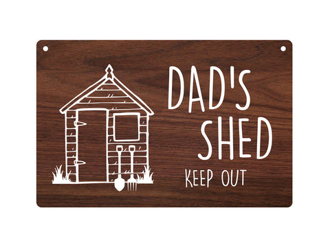 Garden Shed Sign Dad's / Grandad's / Grandpa's - Walnut wood effect acrylic, waterproof, outdoor with drill holes and supplied with twine