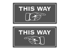 Load image into Gallery viewer, This Way Pointing Finger Directional Adhesive Sign - Ideal sticker notice for walls (Available in Silver / Gold / Black / Grey / White)