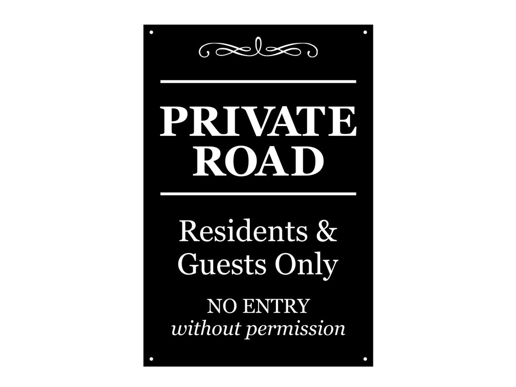 Private Road Sign, Residents & Guests Only - Sturdy 3mm Plastic Acrylic, Engraved, Outdoor, Waterproof, with drill holes for easy fixing