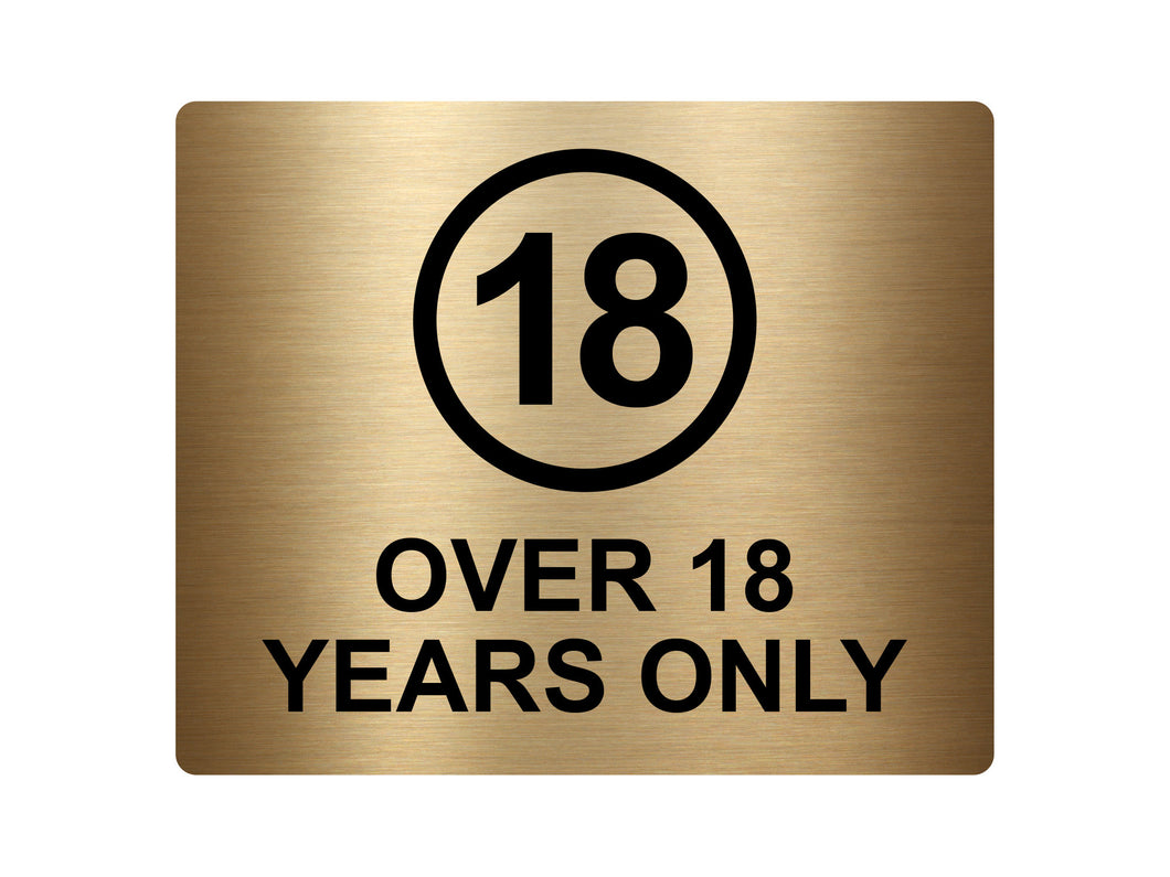 Over 18 Years Only, Adhesive Sticker Notice Door Security Sign - Available in  Silver/Gold/Red/Yellow, Size 12cm x 10cm