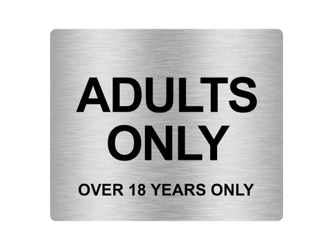 Adults Only (Over 18 Years Only), Adhesive Sticker Notice Door Security Sign - Available in  Silver/Gold/Red/Yellow, Size 12cm x 10cm