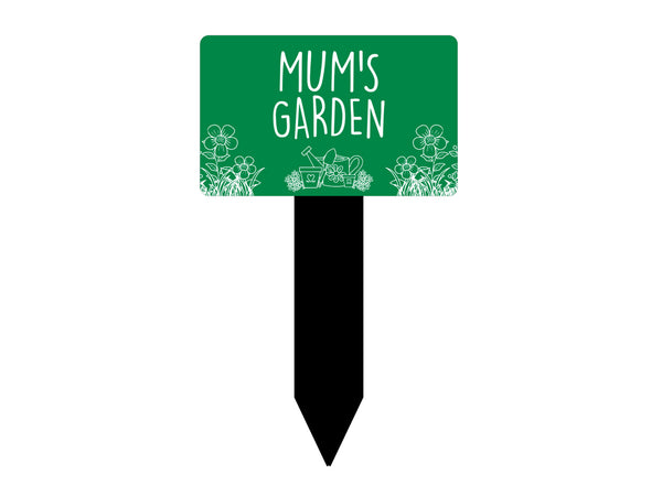 Garden Sign Mum's / Grandma's / Nana's - Engraved plaque, mounted on a black stake, waterproof, outdoor, PINK or GREEN options
