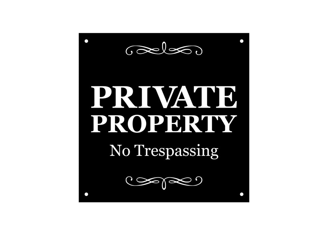 Private Property Sign, No Trespassing - Sturdy 3mm Plastic Acrylic, Engraved Sign, Outdoor, Waterproof, with drill holes for easy fixing