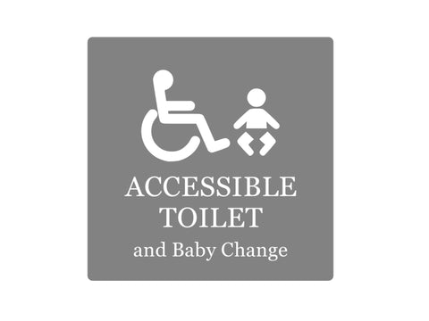Accessible Toilet and Baby Change - Adhesive Sign Notice, Grey and White / Black and White, 1.6mm waterproof acrylic