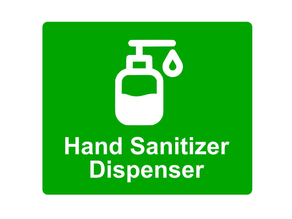 Hand Sanitizer Dispenser Sign Adhesive Sticker Notice, with Universal Icon Symbol and Text (Size 12cm x 10cm) Various Colours