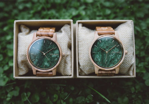 Reloj de madera Olive And Marble