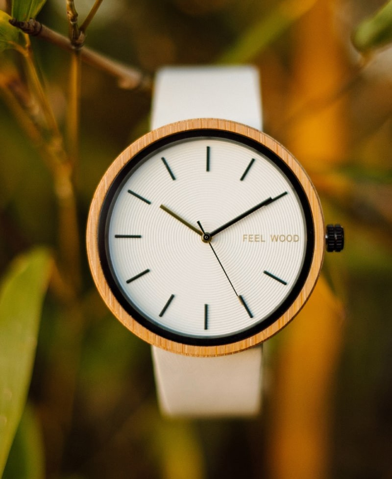 Reloj de madera White Bamboo Light 42 mm