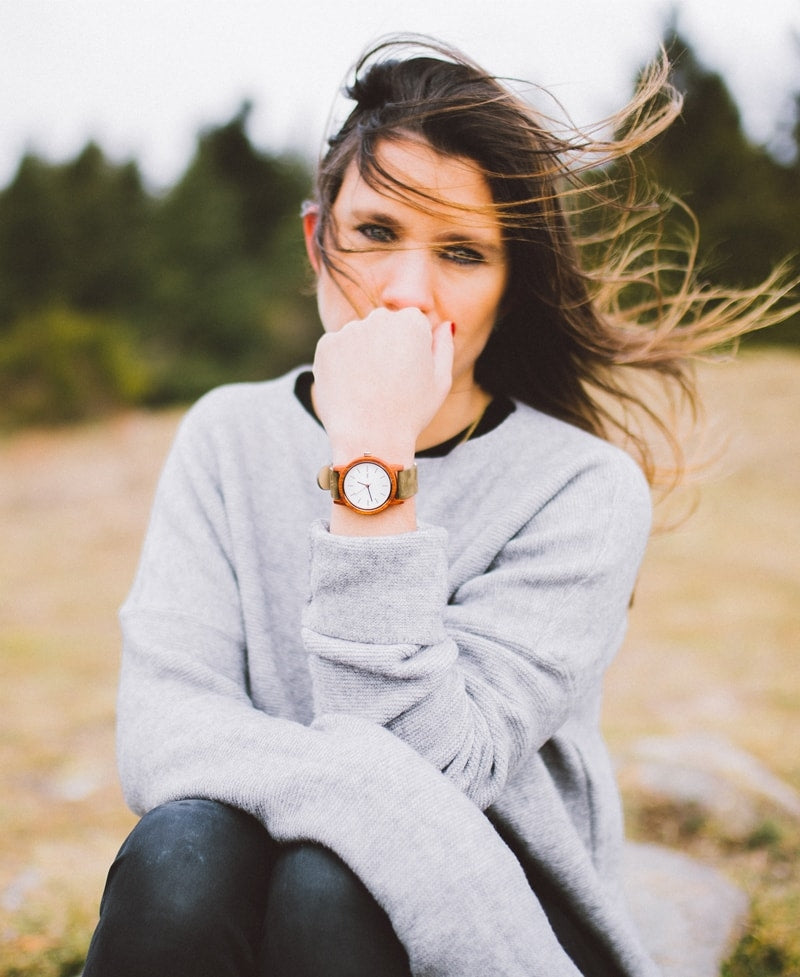 Reloj de madera Sulit Green Forest 36 mm