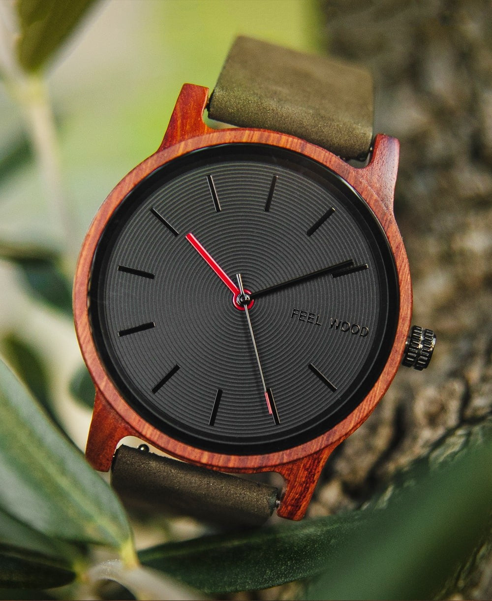 Reloj de madera Black Sonder Green Forest 40 mm