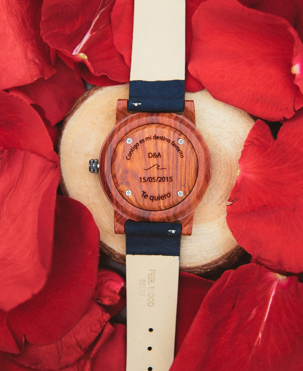 Wooden watch White Sonder BlueBerry 40 mm